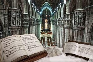 In primo piano: codice Gaffurio. Archivio Veneranda Fabbrica del Duomo